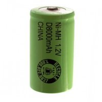 D Size Rechargeable Battery 8000mAh NiMH 1.2V Button Top Cell