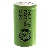 D Size Rechargeable Battery 8000mAh NiMH 1.2V Flat Top Cell (3)