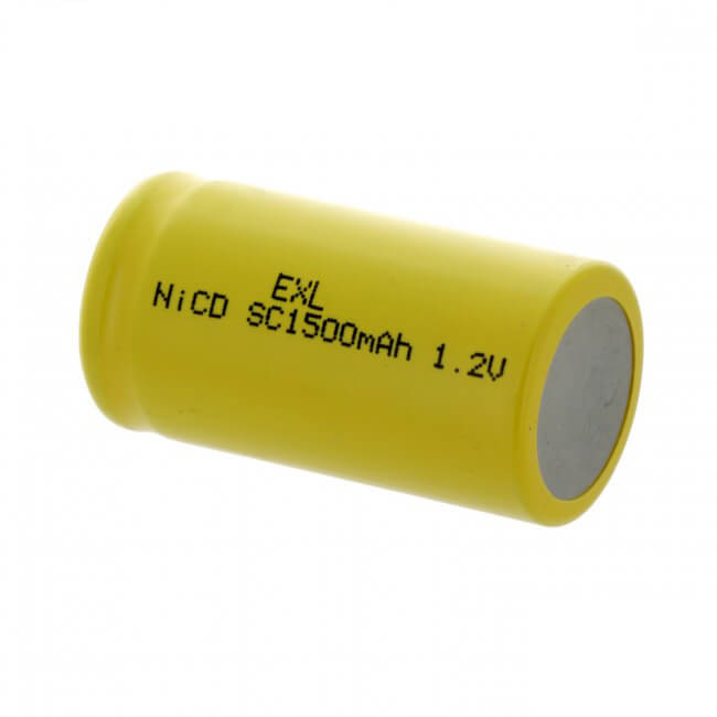 SubC 1.2V 1500mAh NiCD Rechargeable Flat Top Battery (2)