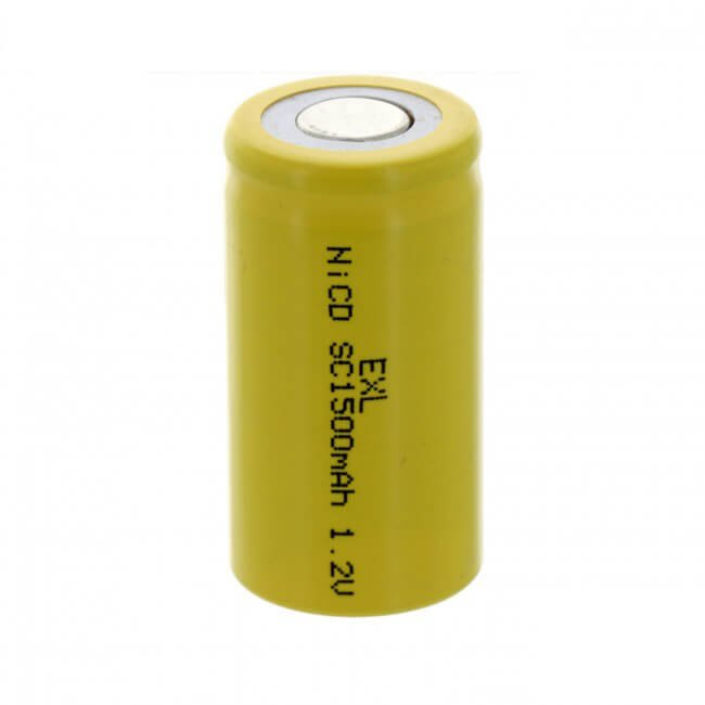 SubC 1.2V 1500mAh NiCD Rechargeable Flat Top Battery (3)